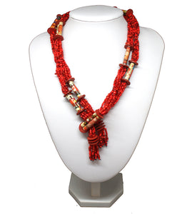 Collier perles recyclage rouge
