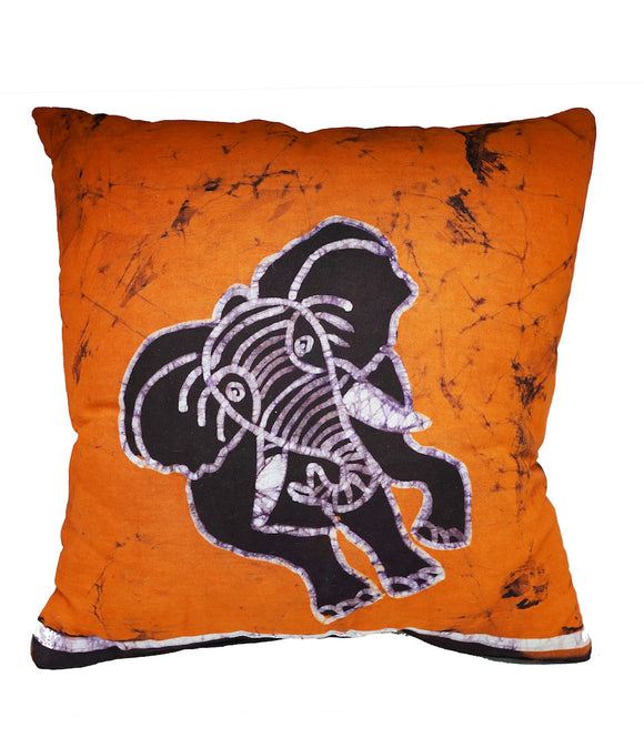 Coussin batik elephant orange 40*40cm