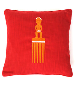 Coussin brodé peigne africain rouge