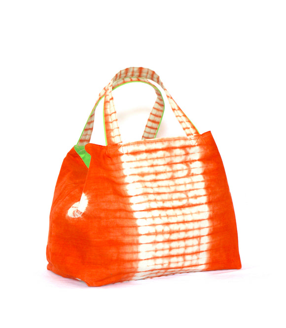 "Sac de plage moyen ""tie and dye"" orange"