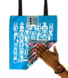 "Tote bag ""African kiss"" face bleue"