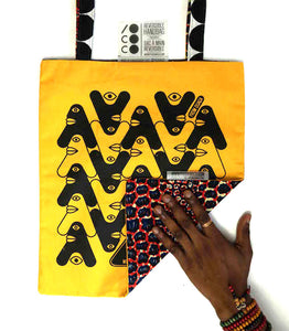 "Tote bag ""Black white"" jaune"