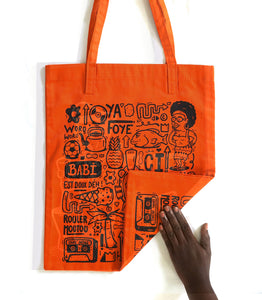 "Tote bag ""Love Babi"" orange"