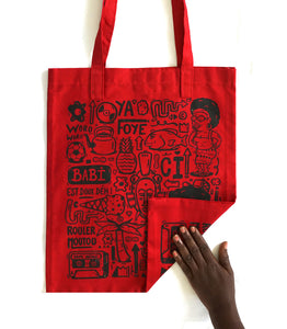 "Tote bag ""Love Babi"" rouge"