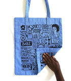 "Tote bag ""Love Babi"" bleu"
