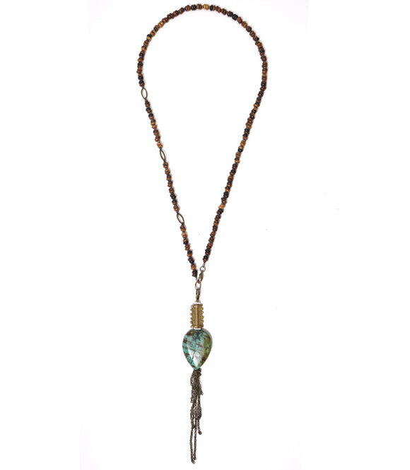 Collier African brass et perles coffee