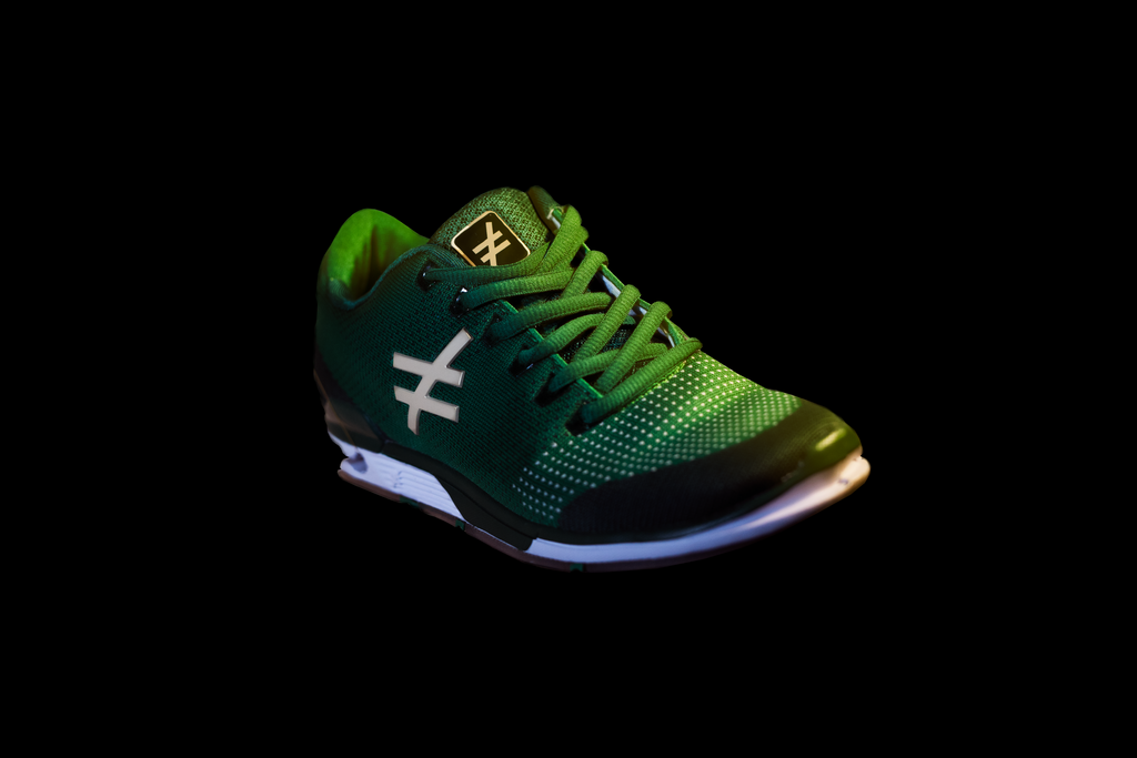 front angle the DIFFERENCE Runners heelless shoe green
