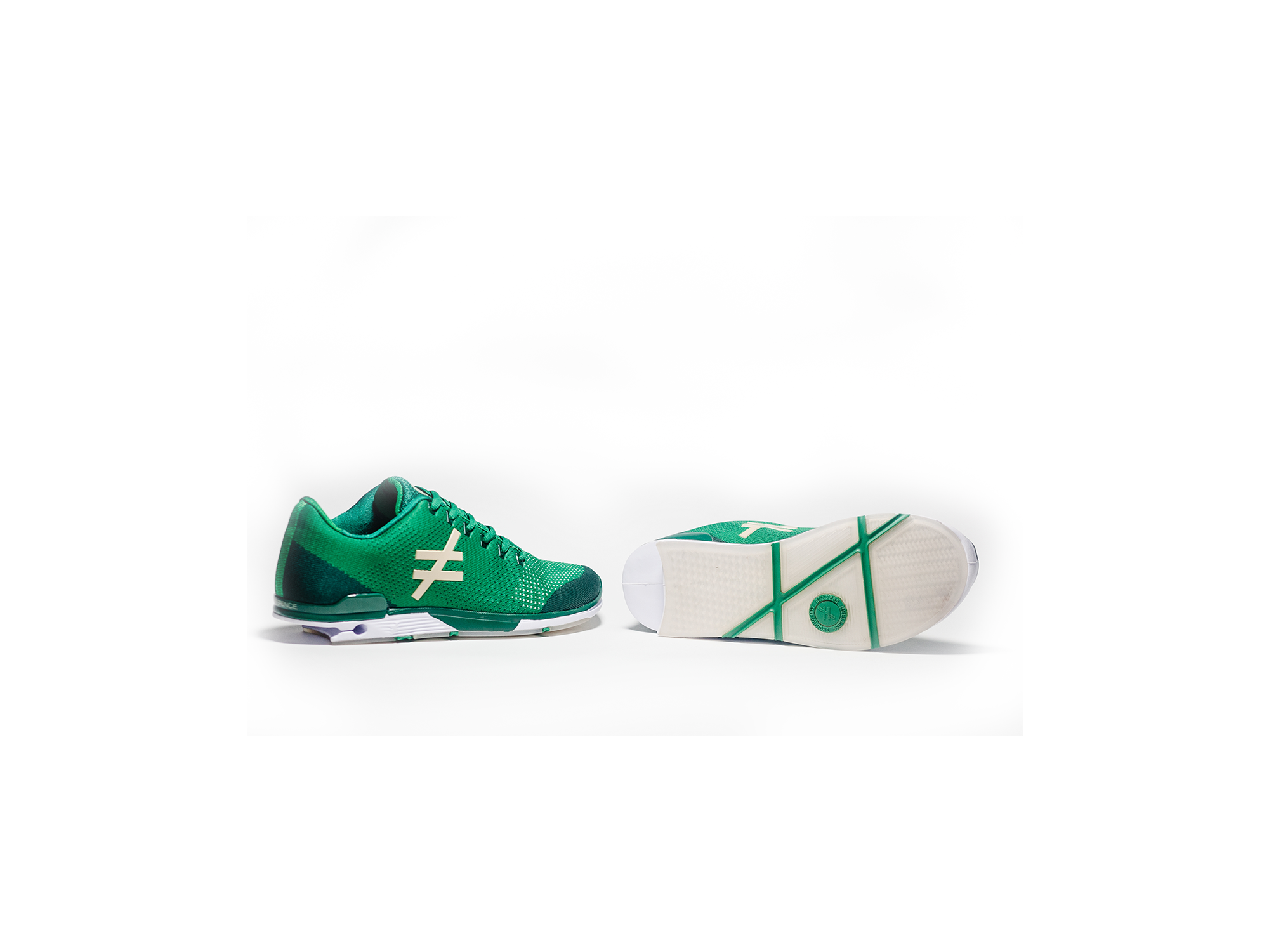 side and sole angle the DIFFERENCE Runners heelless shoe green