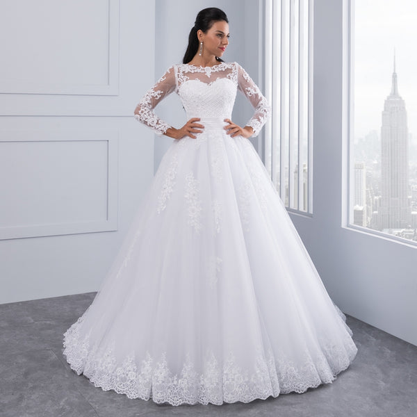 Ball Gown Wedding Dress w/ Detachable Train – Luxury Boutique NY