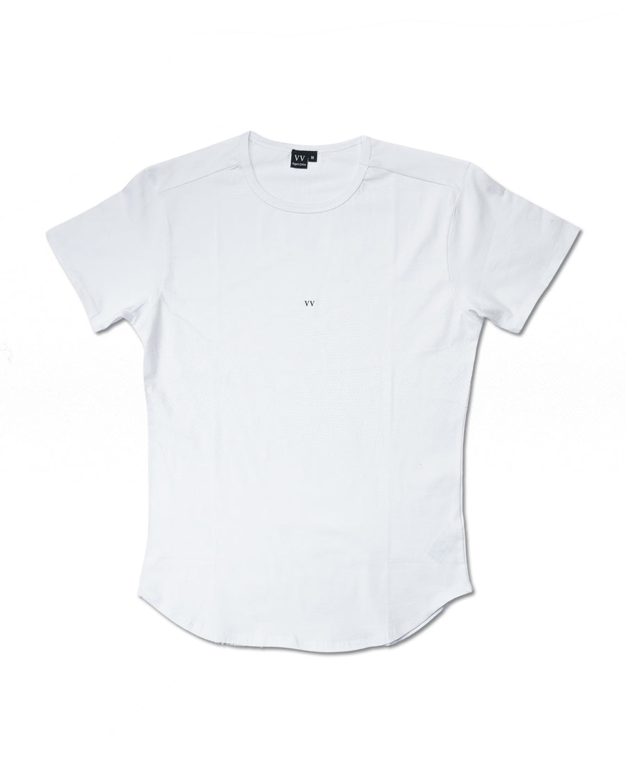Curved Hem Slim Tee - Polar White