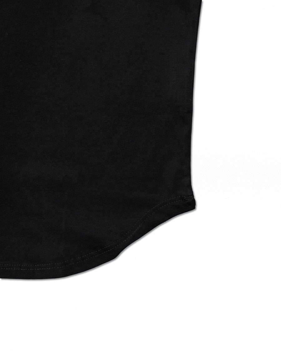 Curved Hem Slim Tee - Midnight Black
