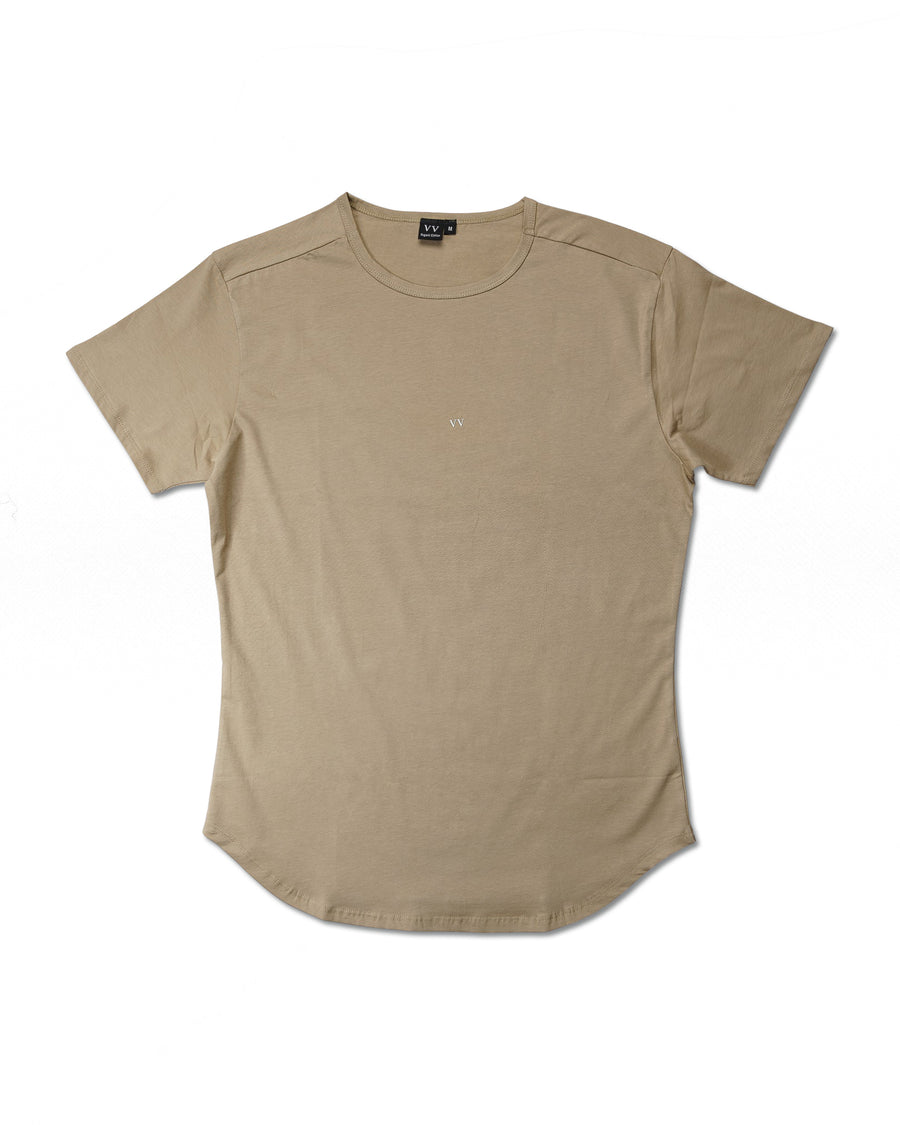 Curved Hem Slim Tee - Desert Brown