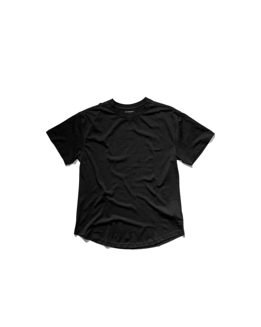 Curved Hem Tee - Midnight Black