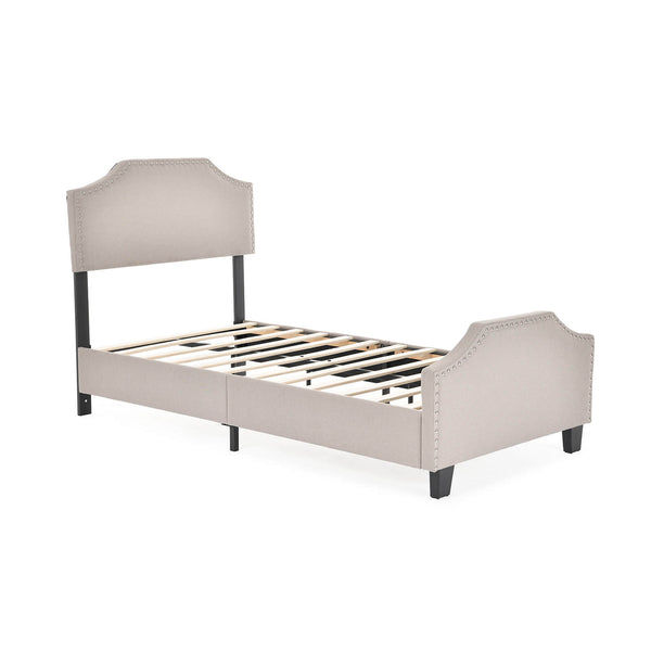 Upholstered Linen Platform Bed | Curved Shape Headboard, Footboard and Metal Frame with Sticky Wood Slat Support | Khaki, Full
