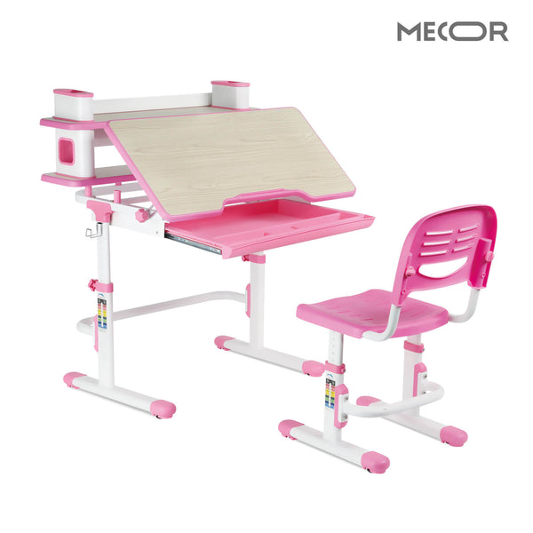Kids Desk and Chair Set w/Bookshelf, Child Student School Desk Height Adjustable Children Sturdy Table