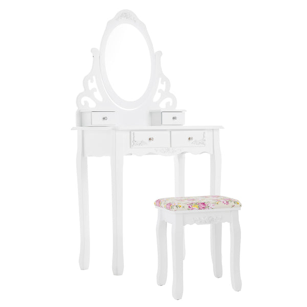 Mecor Vanity Table Set w/Cushoined Stool, Makeup Table with Oval Mirror Hollow Carved Frame, Wood Dressing Table with 4 Drawers