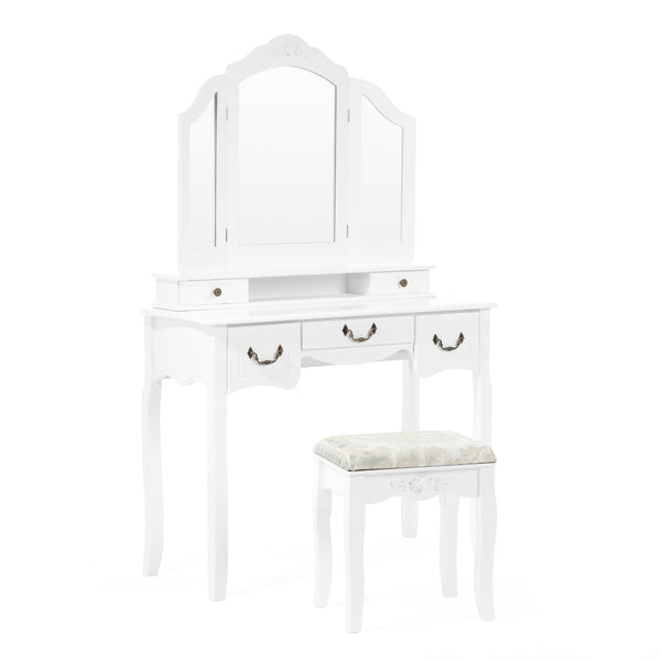 Mecor Makeup Vanity Table w/Tri-Folding Mirror, Wood Dressing Table Bedroom Vanity Set w/Cushioned Stool & 5 Drawers Storage for Girls Women White