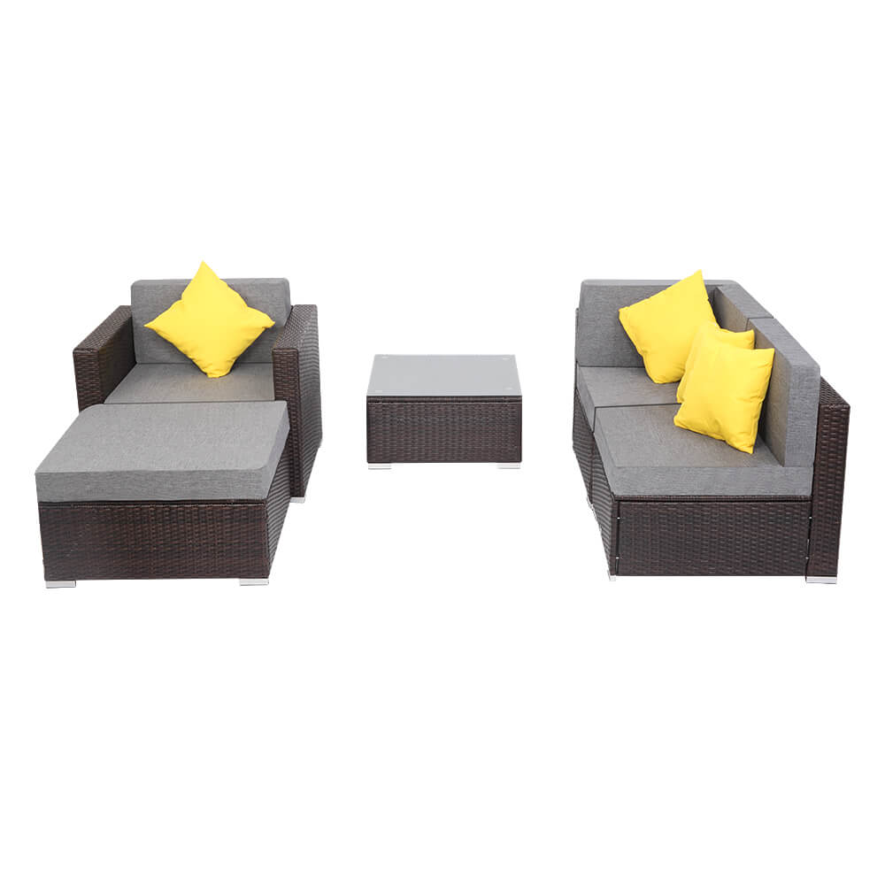 5pcs Patio Outdoor Furniture Sets, Low Back All-Weather Rattan Sectional Sofa with Tea Table&Washable Couch Cushions