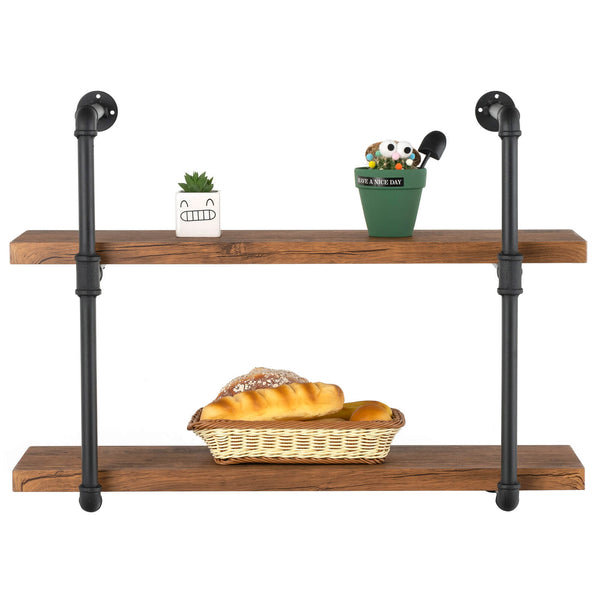 Mecor Industrial Wall Shelf 2-Tier with Planks, Wall Mount Iron Pipe Shelves, Wood and Metal Frame Wall Bookcase
