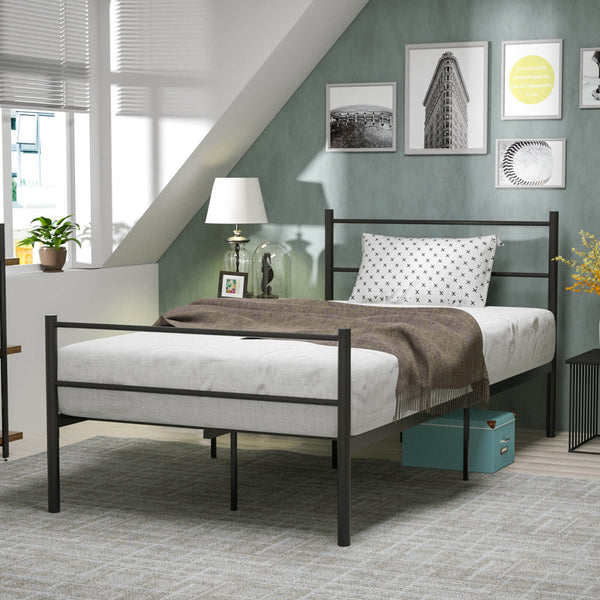 Mecor Metal Twin Bed Frame, Platform Bed with 9 Stable Legs with Anti-Scratch Gaskets, with Steel Headboard Footboard, with Durable Metal Slat Support, Black
