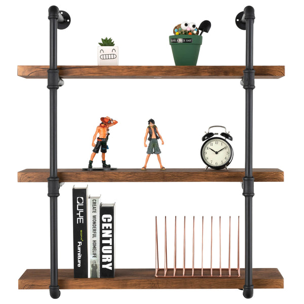 Mecor Industrial Wall Shelf 3-Tier with Planks, Wall Mount Iron Pipe Shelves, Wood and Metal Frame Wall Bookcase