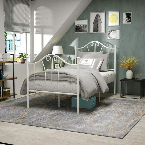Mecor Metal Bed Frame, Platform Bed with Curved Steel Headboard Footboard, with Durable Metal Slat Support
