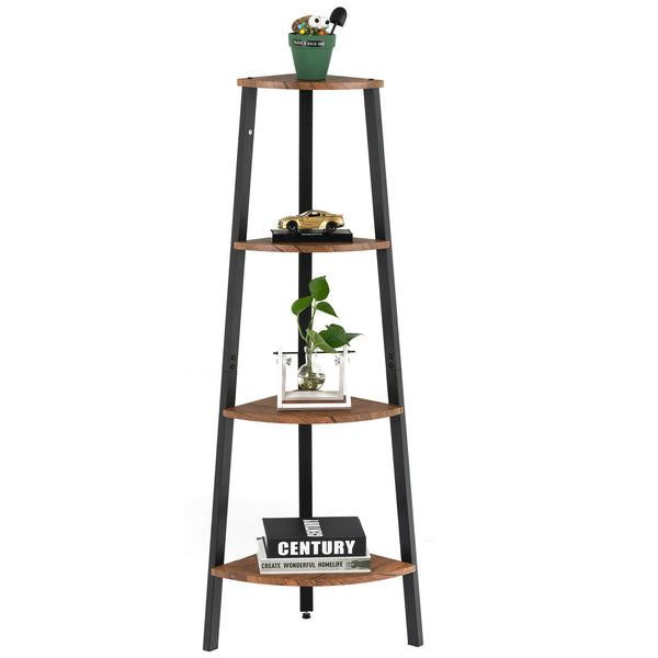 Mecor 4 Tier Industrial Corner Shelf, Rustic Corner Storage Rack Plant Stand Metal Frame Bookcase Display Rack for Home Office