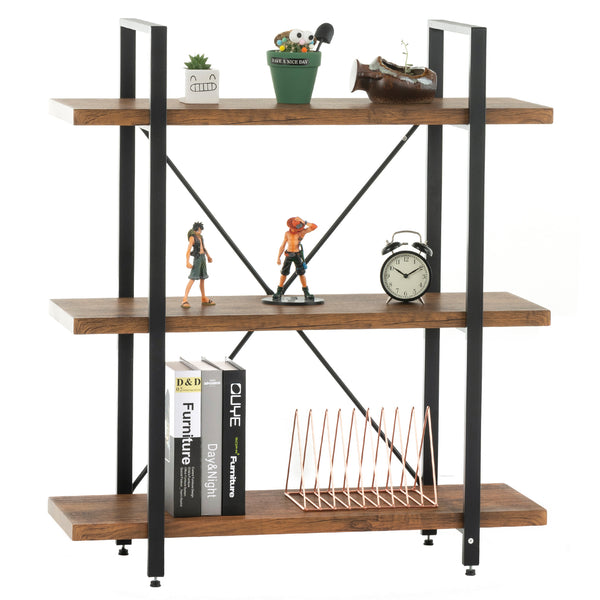 Mecor 2-Tier Bookcase, Vintage Industrial Metal Display and Storage Tower, Etagere Bookshelf for Home Office, Dark Brown