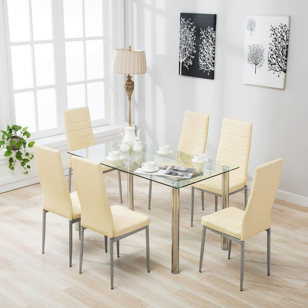 Mecor 7 Piece Glass Kitchen Dining Table Set, Glass Top Table with 6 Faux Leather Chairs Breakfast Furniture (Light Yellow)