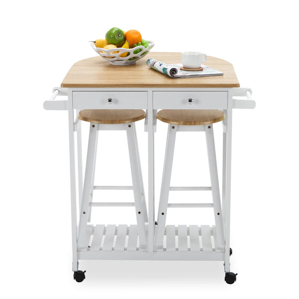 Mecor Drop Leaf Cart, 3PCS Wood Kitchen Rolling Casters with 2 Stools and 2 Drawers,White