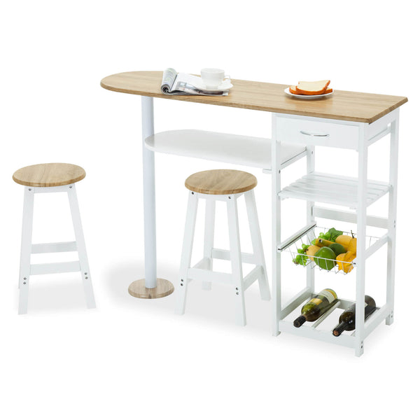 Mecor Kitchen Island Trolley Cart, 3 Piece Dining Table Set with Wood Table Top, 3-Tier Storage Shelves & 1 Drawer, (White)