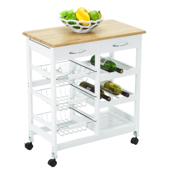 Utility Rolling Kitchen Storage Cart Kitchen Trolley Serving Cart w/Rubberwood Butcher Block Work Surface, Cabinet, Towel Bar, Drawer and Shelves