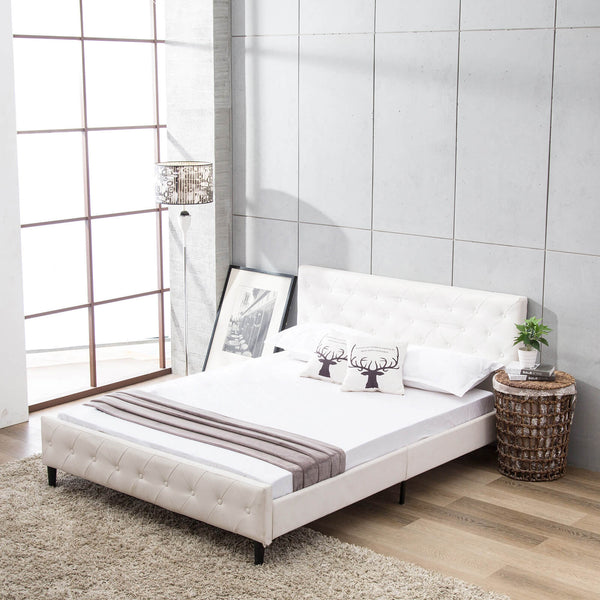 Full Size White PU Leather Button Tufted Upholstered Platform Metal Bed Frame