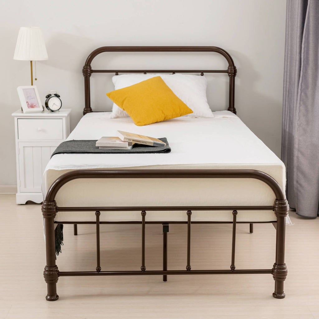 Bed Twin Size Platform Metal Frame, with Vintage Headboard and Footboard, Antique Bronze Brown Baking Paint, Premium Steel Slat Support