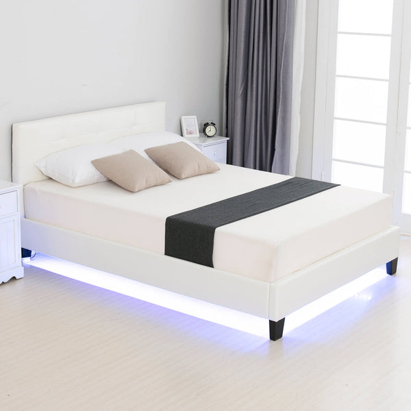 Meocr LED Bed/Modern Upholstered Faux Leather Bed with 8 Color Changing LED Light / 2.8-Inch Solid Wooden Slats Support/White