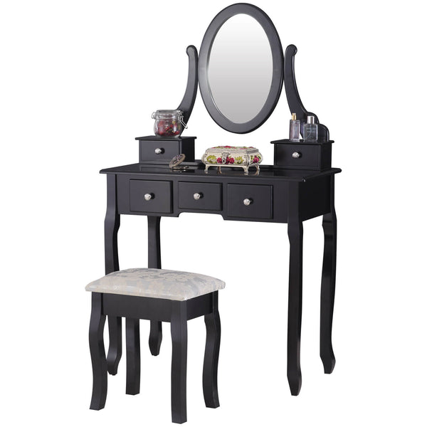 Dressing Table with Oval Mirror, Vanity Table Set | Wood Makeup Table with 5 Drawers White