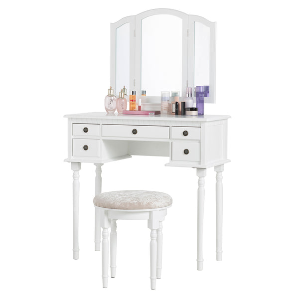 Mecor Vanity Table Set w/Tri-Folding Mirror, Wood Makeup Table and Round Stool & 5 Drawers Storage, 3 Colors