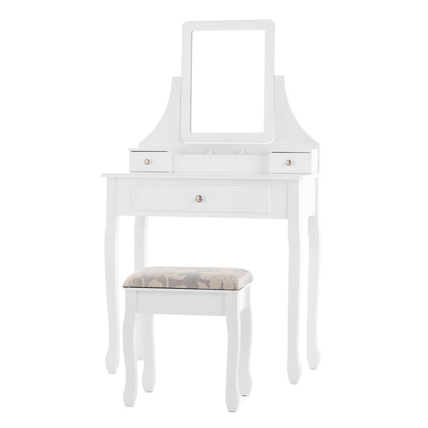 Vanity Table Set w/Square Mirror, Dressing Table Cushioned Stool & 3 Drawers
