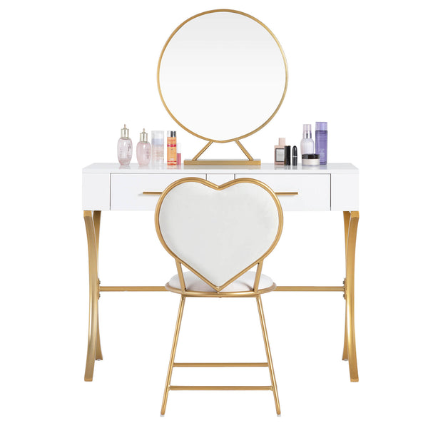 Mecor Vanity Set with Mirror, X Shape Metal Legs, Bedroom Vanity Desk and Heart Shape Cushioned Stool, 2 Drawers