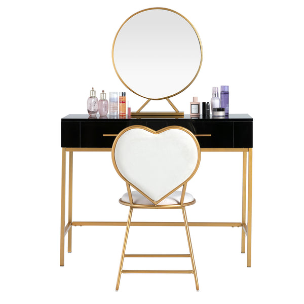 Mecor Vanity Table Set with Mirror, Gold Metal Legs, Heart Shape Cushioned Stool, 2 Drawers Storage White