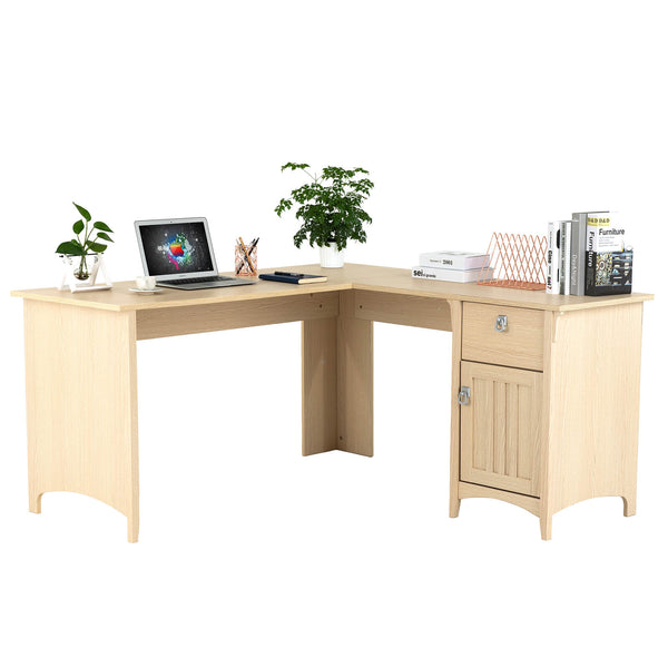 Mecor L Shaped Corner Computer Desk/Table with Storage & Drawer, Modern Study Home Office Writing Workstation