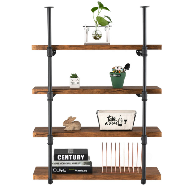 Mecor Industrial Retro Wall Mount Iron Pipe Shelf Hung Bracket Diy Storage Shelving Bookshelf