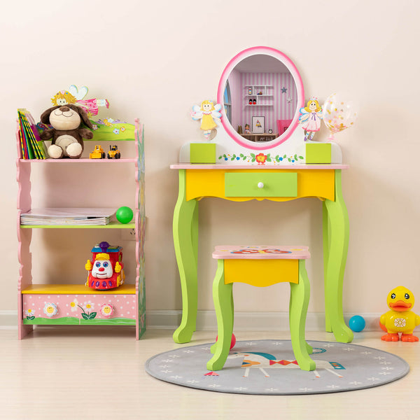 Mecor Kids Vanity Table, Little Girls Princess Makeup Dressing Table with Drawer/Mirror,Hand Painted Vanity Set with Stool for Children (Green-Oval Mirror)