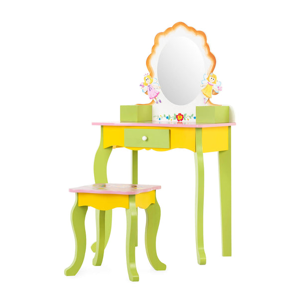 Mecor Kids Vanity Table, Little Girls Princess Makeup Dressing Table with Drawer/Mirror, Hand Painted Vanity Set with Stool for Children (Green- Flower Mirror)
