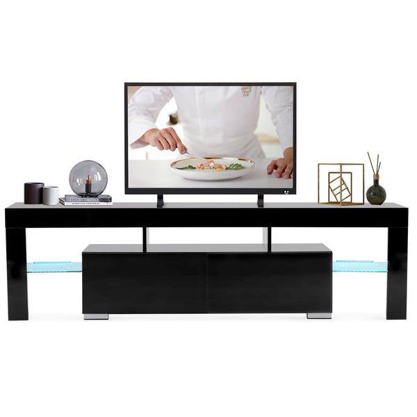 Mecor Modern Black TV Stand with LED Lights, High Gloss TV Stand for 65 Inch TV LED TV Stand with Storage and 2 Drawers Living Room
