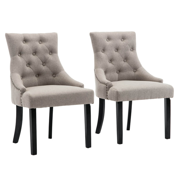 Fabric Dining Chairs Set of 2, Leisure Padded Chair with Armrest, Black Solid Wooden Legs