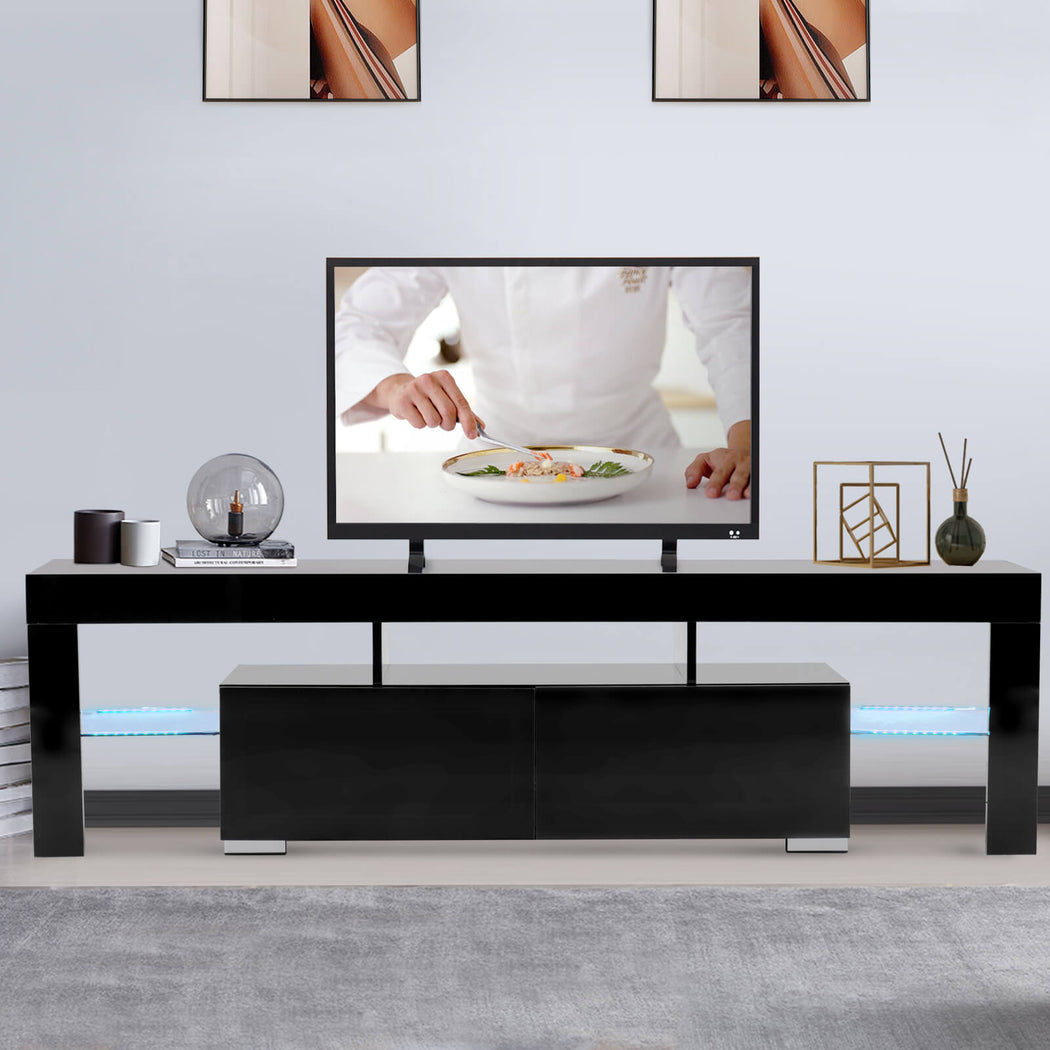 Mecor Modern Black Tv Stand With Led Lights High Gloss Tv Stand For 6