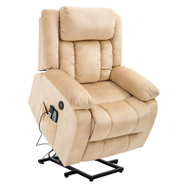 Mecor Lift Chair, Power Lift Recliner for Elderly, Fleece Massage Recliner Chair-Beige