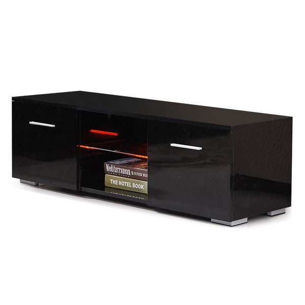 "High Gloss TV Stand, 47"" TV Unit with LED Lights Console Storage Cabinet with 2 Drawers"