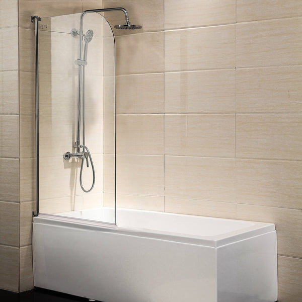 "55""X31"" Bathtub Shower Door 1/4"" Clear Glass Hinged Pivot Radius Frameless Chrome Finish"